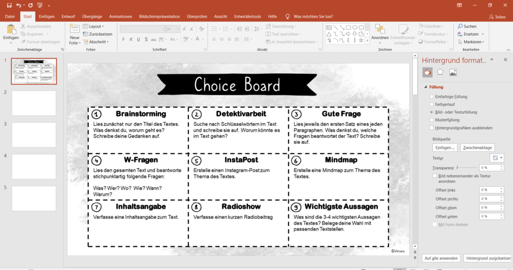 Choise Board mit Powerpoint